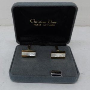 Christian Dior Mother of Pearl Gold Cuff Links